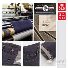 Uniqlo [Original] Selvedge Denim Jeans Kaihara Japan Slim Regular Straight Fit - Navy/Black
