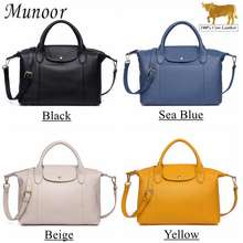 Munoor Italian Imported 100% Genuine Cow Leather Women Shoulder Bags Casual Handbag (Black)
