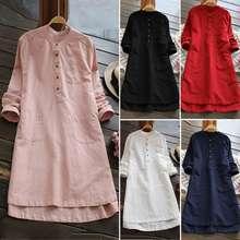 ZANZEA New Women Blouse V-Neck Retro Simple Button Plus Size Long-Sleeved Dress