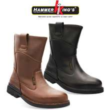 Hammer King's Hammer Kings Exclusive Safety 13005 Mens Shoes High Cut Pull-Up Steel Toe Cap Leather Working Footwear